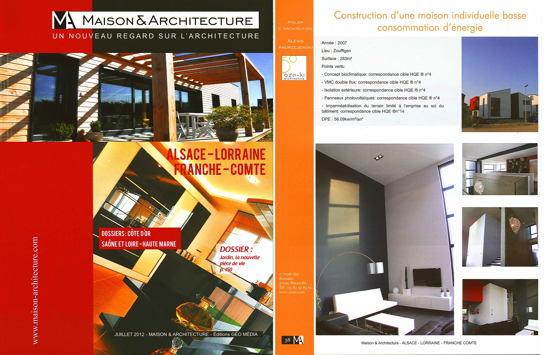 Sélection de projets d'arrchitecte Lorrains dans Maison et Architecture 2012.